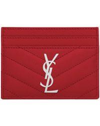 Saint Laurent Porta carte rosso in pelle a texture matelassé