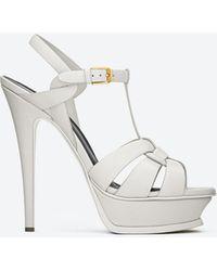 Saint Laurent Tribute Platform Sandals - White