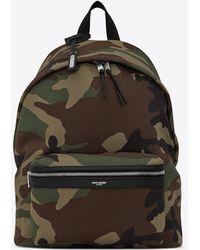 Saint Laurent CITY sac à dos en gabardine imprimée camouflage - Noir