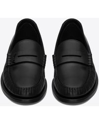 Saint Laurent Le Loafer Monogram Penny Slippers In Smooth Leather - Black