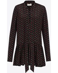 Saint Laurent - Lavaliere Mini Dress In Black And Red Micro Heart And Lightening Bolt Printed Silk Crêpe - Lyst