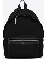 Saint Laurent Mini city backpack en toile - Noir