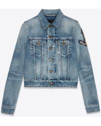Saint Laurent Rope Monogram Jacket In Dirty Green Trash Denim - Blue