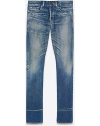 Saint Laurent Slim-fit Jeans In Dirty Winter Blue Denim