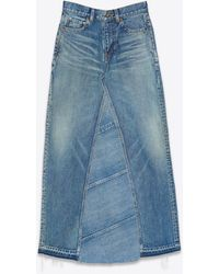 Saint Laurent Long Skirt In Medium Blue Denim Patchwork