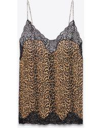 Saint Laurent Nachthemd aus seidencharmeuse und spitze mit leoparden-print - Braun