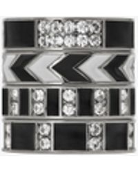 Saint Laurent - Set Of Four Smoking Rings In Silver-toned Brass, Black Enamel And White Crystals - Lyst