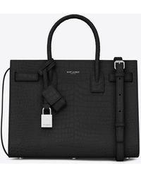 Saint Laurent Baby sac de jour bag nera in coccodrillo stampato - Nero