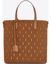 Saint Laurent Le monogramme shopping bag toy n/s in suede con borchie - Marrone