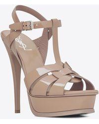 Saint Laurent - Classic Tribute 105 Sandal In Rose Patent Leather - Lyst