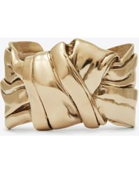 Saint Laurent - Draped Bow Cuff Bracelet In Light Gold Metal - Lyst