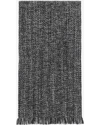 Saint Laurent - Scarf In Black And Light Grey Diagonal Chevron Knit Wool And Cashmere - Lyst