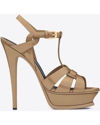 Saint Laurent - Tribute 105 Sandal In Dark Powder Patent Leather - Lyst
