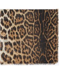 Saint Laurent Large square leopard scarf in beige and black cashmere etamine - Natur