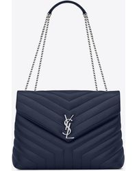 "Saint Laurent Medium loulou chain bag nera in pelle ""y"" matelassé - Blu"