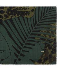 Saint Laurent - Sciarpa quadrata in étamine di lana motivo leopardato nocturnal jungle - Lyst