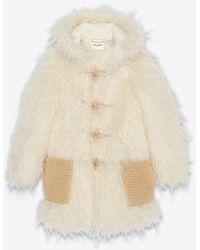 Saint Laurent Long Duffle Coat In Faux Fur - Natural