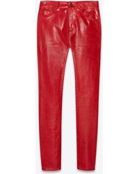 Saint Laurent Skinny Jeans In Shiny Red Vinyl Denim