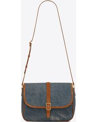 Saint Laurent Sorbonne Flap Bag In Vintage Denim And Suede - Blue