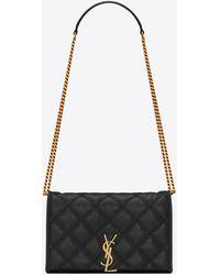Saint Laurent Becky chain wallet in diamond-quilted lambskin - Nero