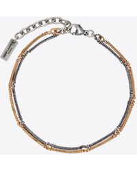 Saint Laurent Two-tone Double Herringbone Chain Bracelet In Metal - Metallic