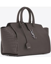 effc3c2768 Saint Laurent - Downtown Small Cabas In Smooth And Crocodile Embossed  Leather - Lyst