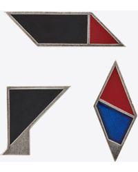 Saint Laurent Broches Géométriques En Métal Et Émail - Multicolour