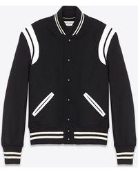 Saint Laurent Leather Patch Varsity Jacket - Black