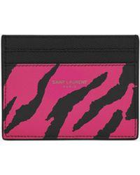 Saint Laurent Zebra Pebbled Leather Card Case - Pink