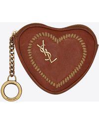 Saint Laurent - Love Key Holder Case In Vintage Cognac Leather - Lyst