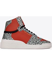 Saint Laurent Sl24 Mid-top Trainers In Babycat-print Leather - Red