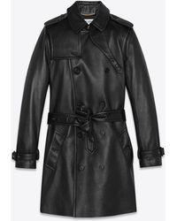 Saint Laurent Trench coat in pelle d'agnello - Nero