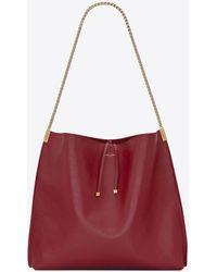 Saint Laurent Suzanne mittelgroße hobo-bag aus glattleder - Rot