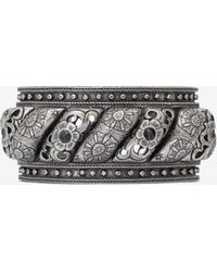 b1f5d60d5f2 Saint Laurent Marrakech Cuff Bracelet In Silver-toned Tin And Black Agate