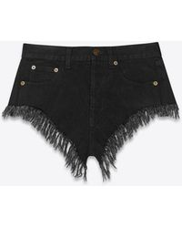 Saint Laurent Short frangé en denim worn black - Noir