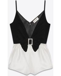 Saint Laurent Bicolor Playsuit In Cupro Velvet - Black