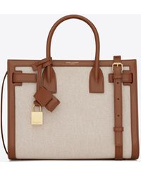 Saint Laurent Classic Sac De Jour Baby In Canvas And Smooth Leather - Multicolour