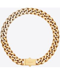 Saint Laurent Two-tone Chain Necklace In Metal - Metallic