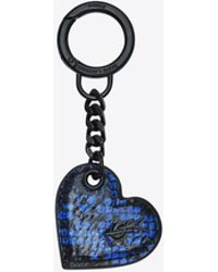 Saint Laurent | Heart-shaped Key Pouch In Black And Blue Ayers | Lyst