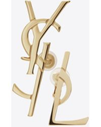 Saint Laurent | Monogram Deconstructed Earrings In Gold-toned Brass | Lyst
