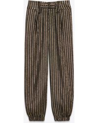 Saint Laurent Cargo Pants In Starry Night Lamé Stripes - Black
