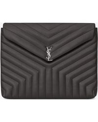"""Saint Laurent - Loulou Document Holder In Shiny Asphalt Gray Leather With """"y"""" Quilting - Lyst"""
