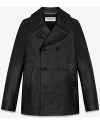 Saint Laurent Double-breasted pea jacket in shiny leather - Nero