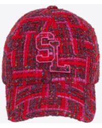 Saint Laurent Casquette sl en tweed de laine à carreaux - Rouge