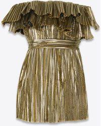 Saint Laurent - Strapless Plissé-lamé Mini Dress - Lyst