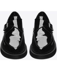 Saint Laurent Teddy Monkstraps In Patent Leather - Black