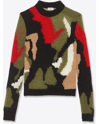 Saint Laurent Pull en maille intarsia de laine et mohair à motif camouflage - Noir