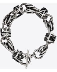 Saint Laurent Monogram Link Chain Bracelet - Metallic