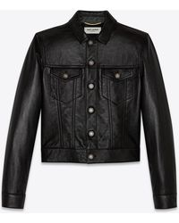 Saint Laurent Denim Jacket In Shiny Lambskin - Black