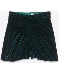 Saint Laurent Short a vita alta stile pareo in velluto - Verde